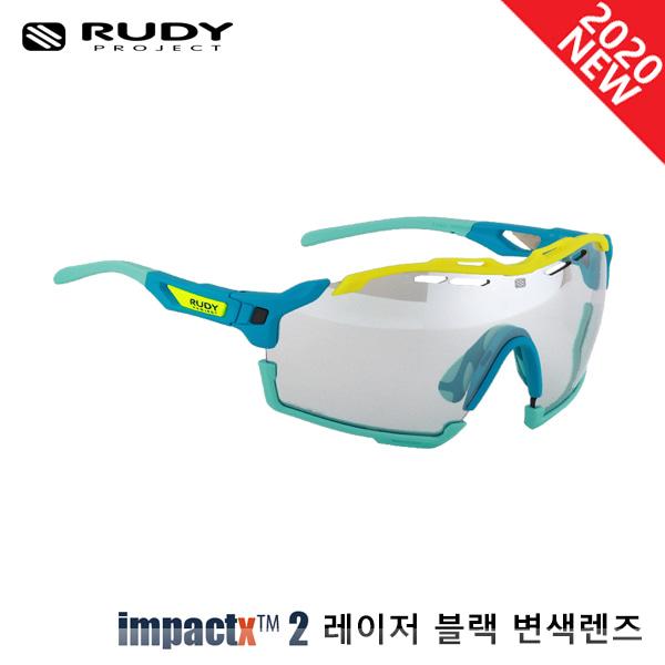 루디프로젝트 RUDY PROJECT/컷라인 매트 워터_아쿠아 마린+옐로우 플루오 범퍼/임팩트X™ 포토크로믹 2 레이저 블랙 SP637882-0001/CUTLINE IMPACT X  PHOTOCHROMIC2 LASER BLACK